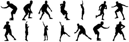 Difesa, la posizione difesa dei giocatori di basket silhouette nera illustrazione isolato su sfondo bianco.
