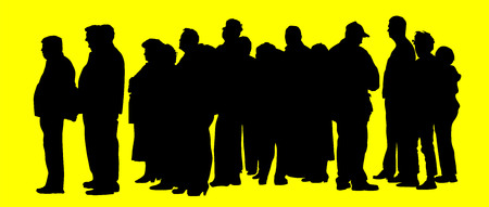 group of people waiting in line silhouette isolated on background.
