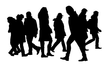 busy city: Busy city street people on zebra pedestrian crossing silhouette illustration isolated on white background. Group of people walking. Illustration