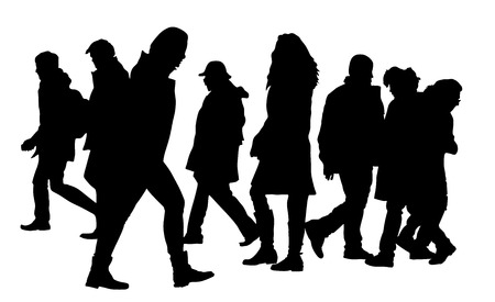 busy city: Busy city street people on zebra pedestrian crossing silhouette illustration isolated on white background. Illustration