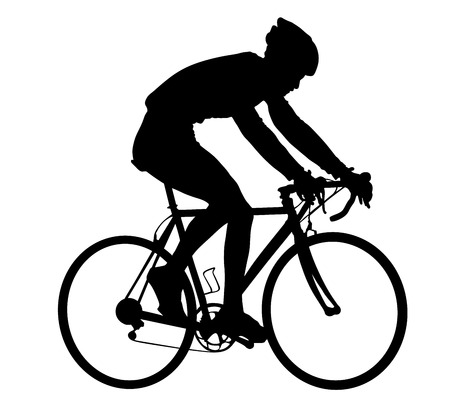 A male bicyclist riding a bicycle isolated against white background silhouette vector illustration.