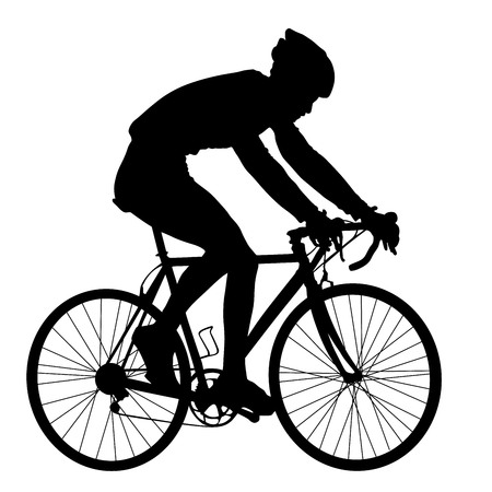 bicycler: A male bicyclist riding a bicycle isolated against white background silhouette vector illustration. Man ride bicycle.