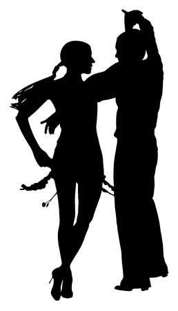 latino dance: Two elegance tango dancers vector silhouette. Isolated over white background. Dancing styles, Partner latino dance waltz, performer tango, woman and man. Vector illustration.