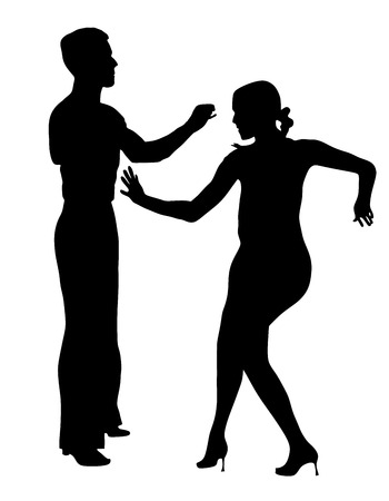 the performer: Two elegance tango dancers vector silhouette. Isolated over white background. Dancing styles, Partner dance waltz, performer tango, woman and man. Vector illustration.