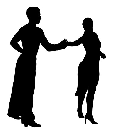 waltz: Two elegance tango dancers silhouette. Isolated over white background. Dancing styles, Partner dance waltz, performer tango, woman and man. Illustration