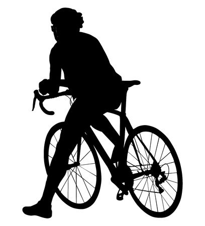 bicycler: A male bicyclist riding a bicycle isolated against white background silhouette vector illustration. Cyclists resting on the start position.