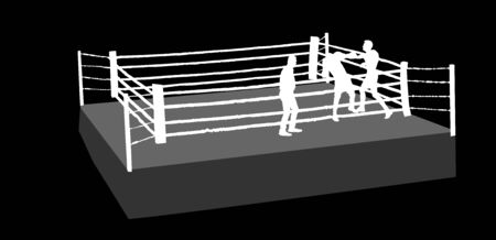 Boxing match vector silhouette illustration isolated on background. An boxing ring surrounded by ropes. Boxer in ring vector silhouette illustration isolated on background.