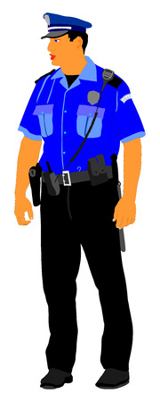 Police officer vector isolated on white background. Policeman on duty.