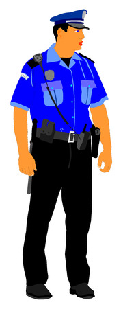 duty: Police officer vector isolated on white background. Policeman on duty.