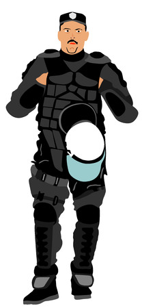 Special weapons and tactics (SWAT) team officer vector isolated on background. Special police member.