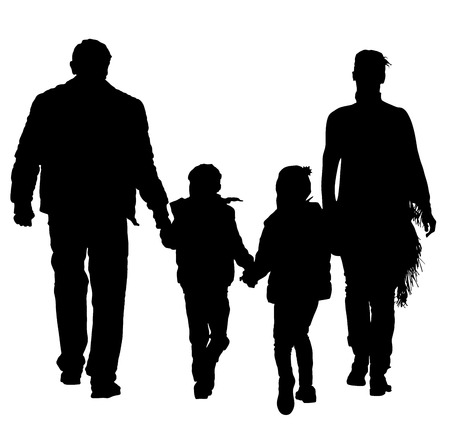 asian family fun: happy young family holding hands silhouette illustration isolated on background. Fathers day. Illustration