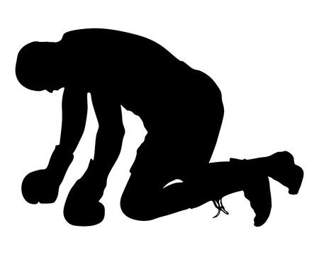 Boxe. Knockout, boxeur sur le terrain. illustration de silhouette vecteur.