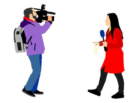 Journalist News Reporter Interview met cameraploeg vector illustratie geïsoleerd op een witte achtergrond.