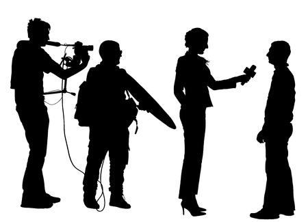 Journalist News Reporter Interview with camera crew vector silhouette illustration isolated on white background. Vectores
