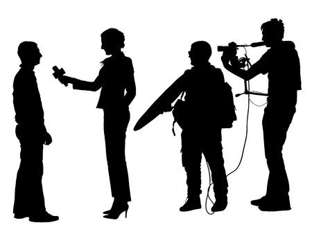 El periodista reportero de las noticias Entrevista con equipo de cámara vector silueta ilustración aislado sobre fondo blanco.