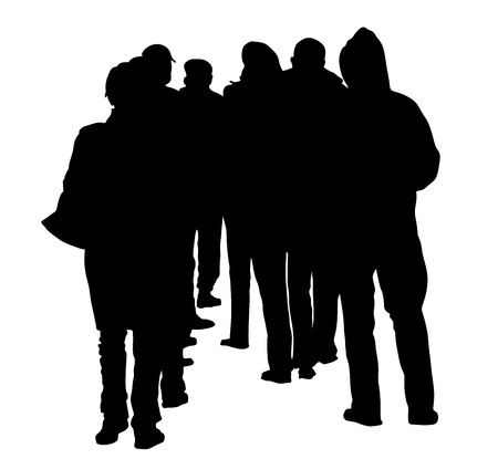 waiting line: group of people waiting in line vector silhouette isolated on white background.