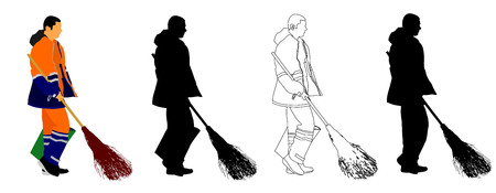 comunity: Worker sweeping with besom, man with brush and rake collects leaves vector illustration isolated on white background. Cleaning the street, cleaner man.
