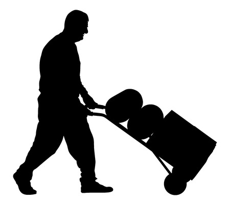 man pushing: Worker man pushing wheelbarrow vector silhouette illustration isolated on white background. Walking delivery man.
