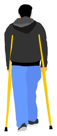 hospice: Man with crutches vector illustration isolated on white background. disabled man on crutches. Illustration
