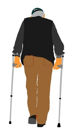 Old man person walking with crutches. Vector character isolated on white background. Senior grandfather rehabilitation with sticks. Active life. Medical treatment. Ilustração
