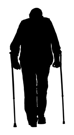 Man with crutches vector illustration. Old man person walking with sticks. Vector character isolated on white background. Silhouette of senior isolated on white background.