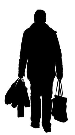 live work city: lonely man with shopping bags walk after work, vector silhouette illustration isolated on white background. Illustration