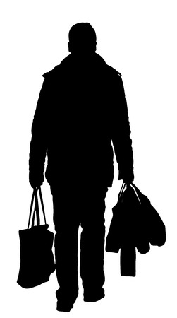lonely man with shopping bags walk after work, vector silhouette illustration isolated on white background.