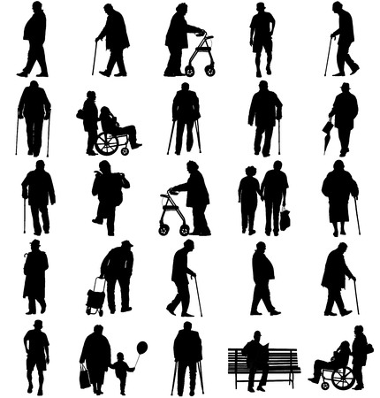 Senioren volwassen personen in wandelen houding, oude mensen actief leven. Oude mensenpersonen die met stok lopen. Vectordiekarakters op witte achtergrond worden geïsoleerd. Groep opa en grootmoeder vector silhouet.