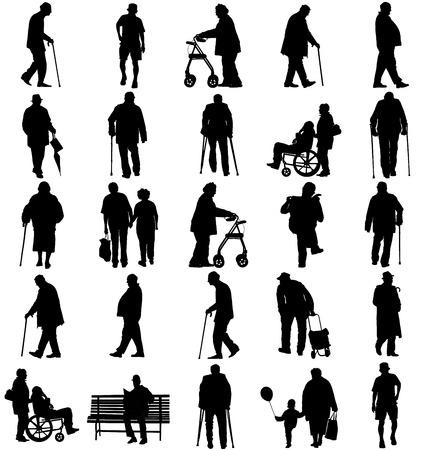 Senioren volwassen personen in vele wandel- pose, casual actief leven. Oude man personen lopen met stok. Vector tekens op een witte achtergrond. Groep van opa en oma vector silhouet. Vector Illustratie