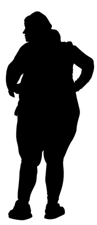 siluet: Fat woman vector silhouette isolated on white background.
