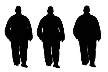 Dicker Mann macht sich Sorgen um die Gesundheit, Vektorsilhouette isoliert auf weißem Hintergrund. Übergewichtige Personen haben Probleme beim Gehen. Großer Junge denkt an Nahrungskalorien.