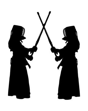 kendo: Vector illustration of two characters wearing black protective clothing and mask in Kendo training. Vector silhouette illustration.