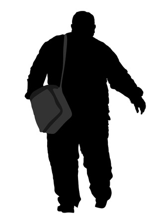 tight body: Fat man walking, vector silhouette isolated on white background. Illustration