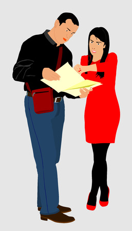 Male tourist asking a beautiful woman about searching locations, vector illustration.