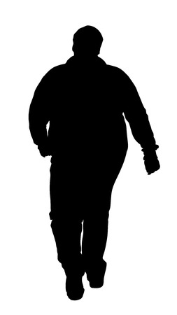 tight body: Fat man vector silhouette isolated on white background.