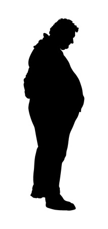 morbidity: Fat man vector silhouette isolated on white background.