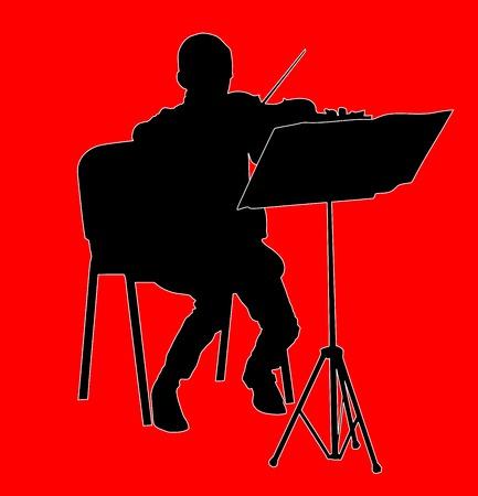 violinista: silueta joven chico violinista tocando un violín sobre el fondo del vector. Vectores