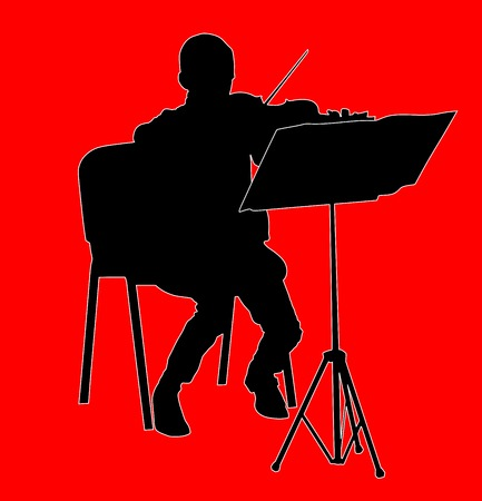 fiddlestick: young boy violinist silhouette playing a violin over background vector.