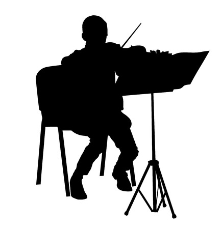 fiddlestick: young boy violinist silhouette playing a violin over white background vector.