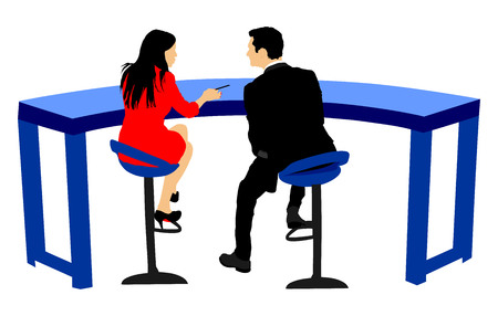 commentator: Tv presenters in tv studio. Couple of tv presenters in love vector illustration.