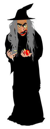 Old witch with poison red apple vector illustration isolated on white background. Illustration