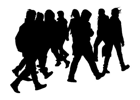 Busy city street people on zebra pedestrian crossing vector silhouette illustration isolated on white background.