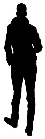 adulation: Slim or skinny young man vector illustration isolated on white background. Very tall man silhouette.