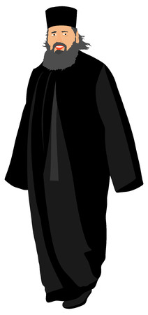 high priest: Orthodox Christian priest vector isolated on white background. High detailed illustration.