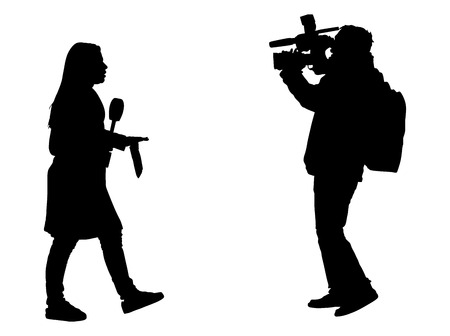 Journalist News Reporter Interview with camera crew vector silhouette illustration isolated on white background. Vettoriali