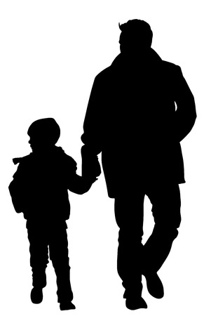 father and son holding hands: Rear view of father and son holding hands while walking on the street. Young father spend time with his son vector silhouette illustration. Young man and boy in walk. Fathers day. Illustration