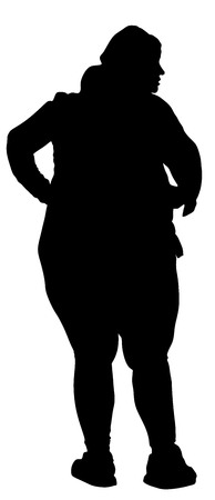 morbidity: Fat woman vector silhouette isolated on white background.