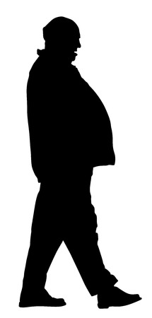 potbelly: Fat man vector silhouette isolated on white background.