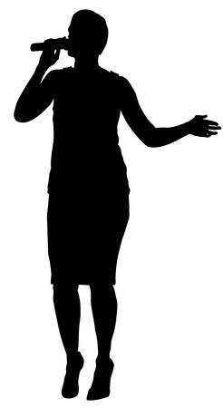 super star: Popular singer super star vector silhouette illustration isolated on white background. Attractive music artist on the stage. Singer woman, girl artist against public on concert. Illustration
