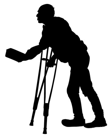 A homeless beggar is begging on a street vector silhouette illustration. Senior person begging for food or help. Disabled person on crutches begging for money.